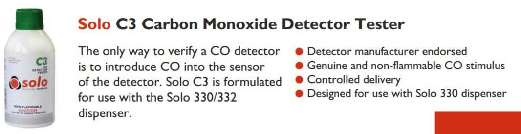 Chai thử đầu báo (Carbon Monoxide) CO SOLO-C3 chính hãng giá sỉ giá rẻ