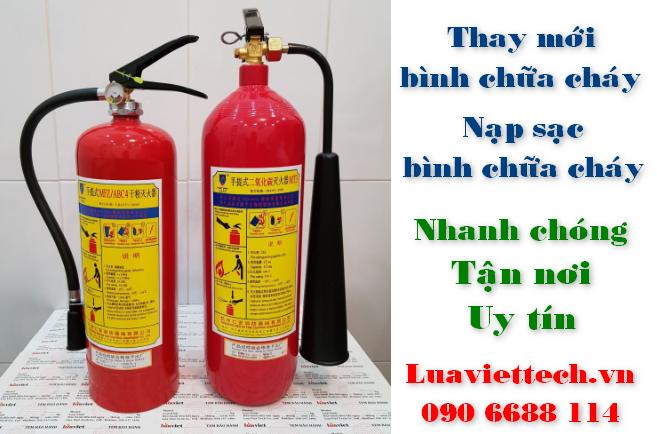 Nạp sạc, bơm và thay mới chất chữa cháy cho bình chữa cháy ABC BC CO2