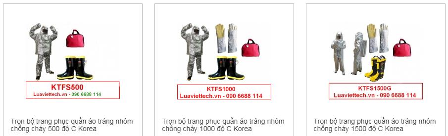 Trọn bộ trang phục quần áo tráng nhôm chống cháy 500 1000 1500 độ C Korea