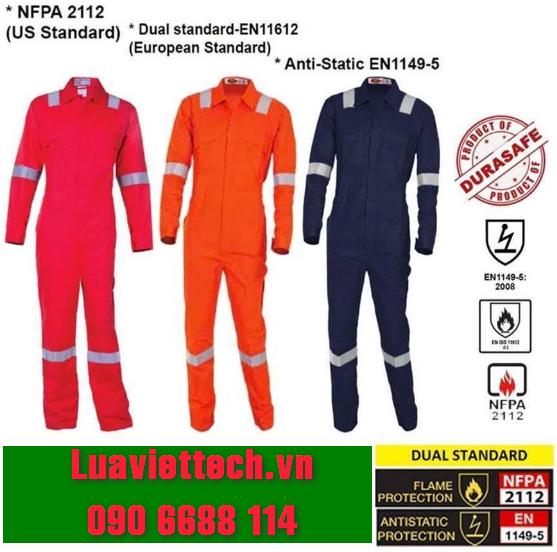 Bộ áo liền quần bảo hộ chống cháy FLAMEBUSTER FR 100% cotton Zip đạt tiêu chuẩn kép của Mỹ, Châu Âu