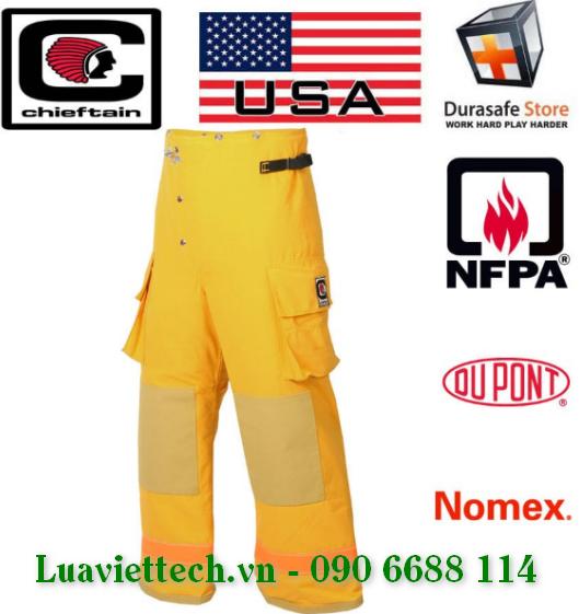 Quần chữa cháy CHIEFTAIN Fireman Suit Pant 35M 7.5 oz Nomex IIIA Yellow NFPA 1971 USA, Size S – 2XL