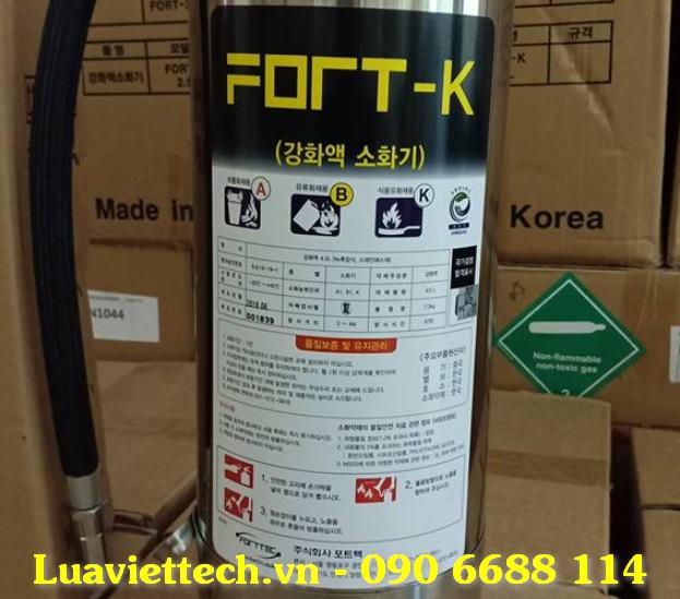 Bình chữa cháy Hàn Quốc Fort - K dùng cho đám cháy dầu mỡ là một sản phẩm được sản xuất tại Hàn Quốc, được sử dụng để dập tắt các đám cháy từ dầu mỡ.