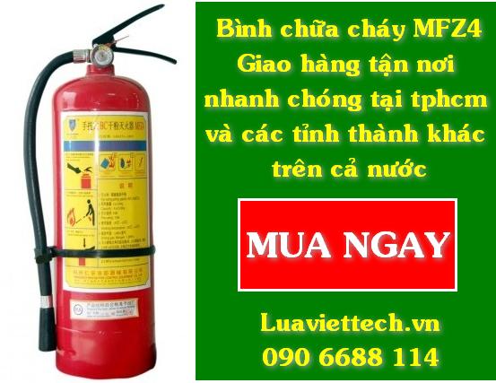 Mua bình chữa cháy MFZ4 giá rẻ cho cửa hàng, cơ sở kinh doanh, có giao tận nơi tại tphcm Công ty thiết bị phòng cháy chữa cháy Luaviettech.vn chuyên bán bình chữa cháy MFZ4 (bình cứu hỏa MFZ4) giá rẻ cũng như các loại bình chữa cháy khác như MT3, MT5, MFZ8, MT24, MFTZ35,...  Quý khách hàng ở xa, không có thời gian? Đừng lo! Luaviettech.vn có hỗ trợ giao hàng tận nơi theo yêu cầu.  Mua bình chữa cháy MFZ4 giá rẻ cho cửa hàng, cơ sở kinh doanh, có giao tận nơi tại tphcm, gọi ngay: 090 6688 114
