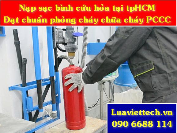 bơm nạp sạc bình cứu hỏa đạt chuẩn an toàn phòng cháy chữa cháy PCCC theo quy định.