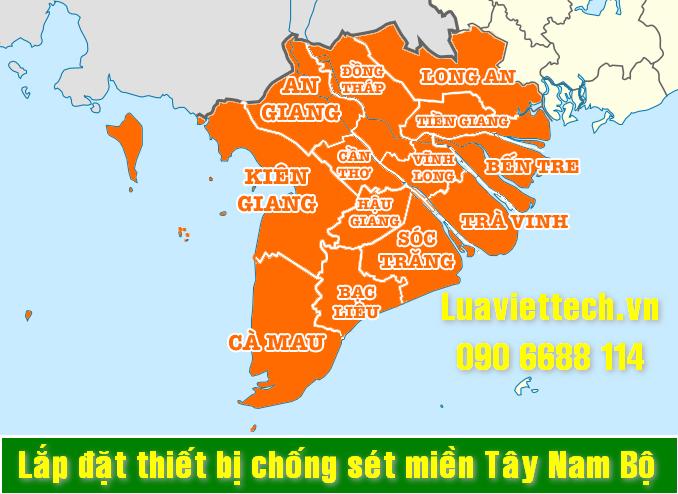 Lắp đặt thiết bị chống sét giá rẻ tại các tỉnh thành miền Tây Nam Bộ uy tín chất lượng