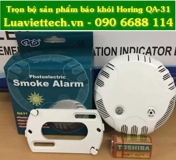 thiết bị báo khói cảnh báo cháy có còi hú HORING QA-31 có kiểm định tphcm