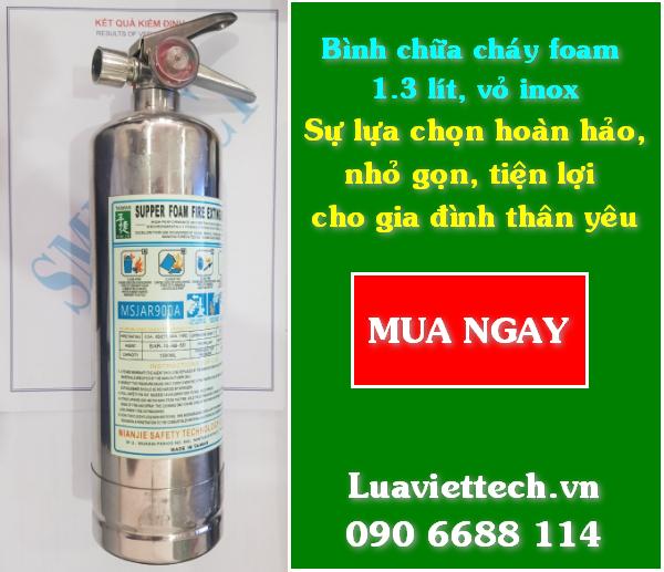 Bình chữa cháy foam 1.3 lít, vỏ inox