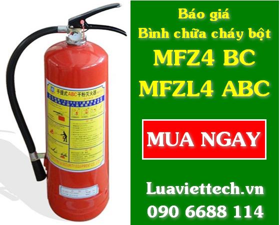 Báo giá bình chữa cháy bột MFZ4 BC và MFZL4 ABC giá rẻ tphcm