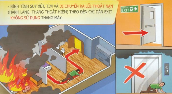 di chuyển trong chung cư khi có cháy