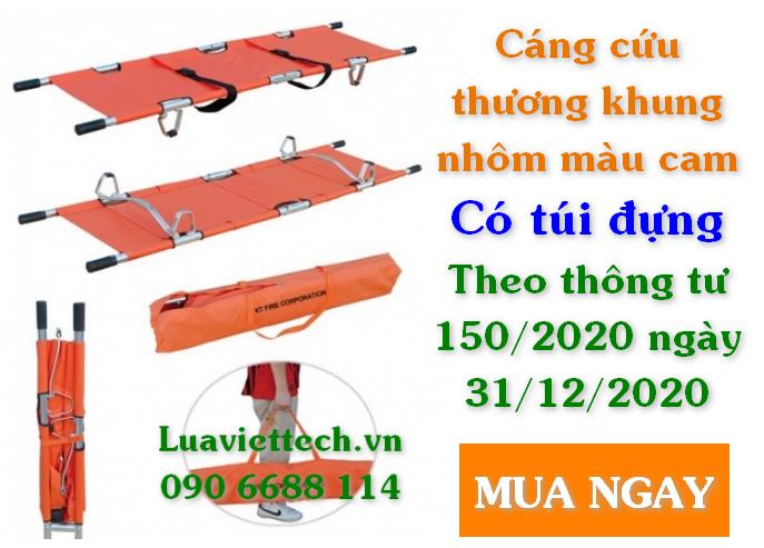 Cáng cứu thương khung nhôm màu cam có túi đựng theo thông tư 150/2020 ngày 31/12/2020