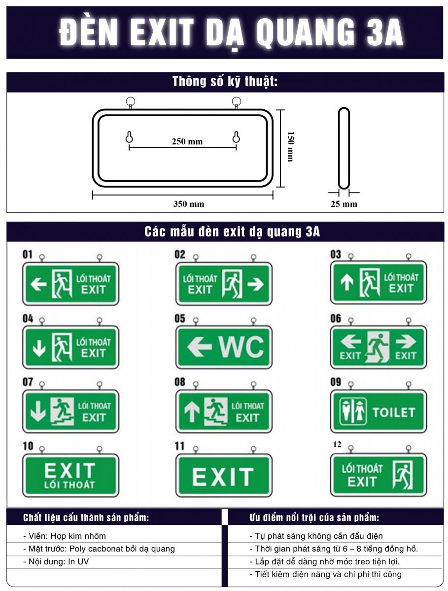đèn exit thoát hiểm dạ quang luaviettech