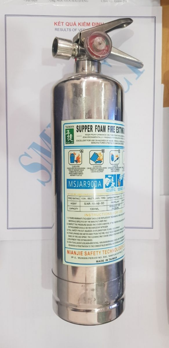 Bình chữa cháy foam 1.3 lít, vỏ inox chính hãng