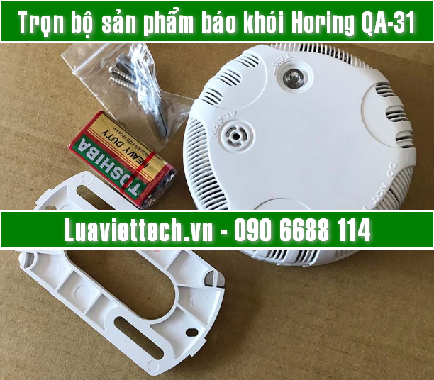 Thiết bị báo khói cảnh báo cháy có còi hú HORING QA-31 có kiểm định của Bộ Công An, nhà cung cấp chính hãng: Luaviettech.vn